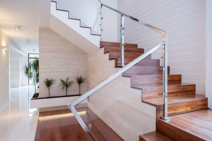 43221818 – image of stylish staircase in bright house interior