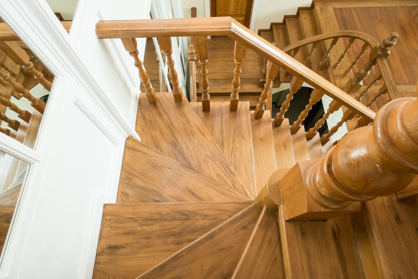 46377239 – classic wooden staircase in luxury home entrance hall